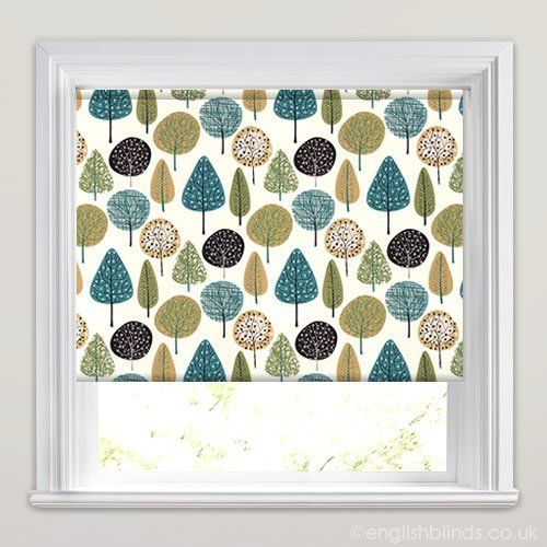 Funky Patterned Roller Blinds In White Blue Green Made
