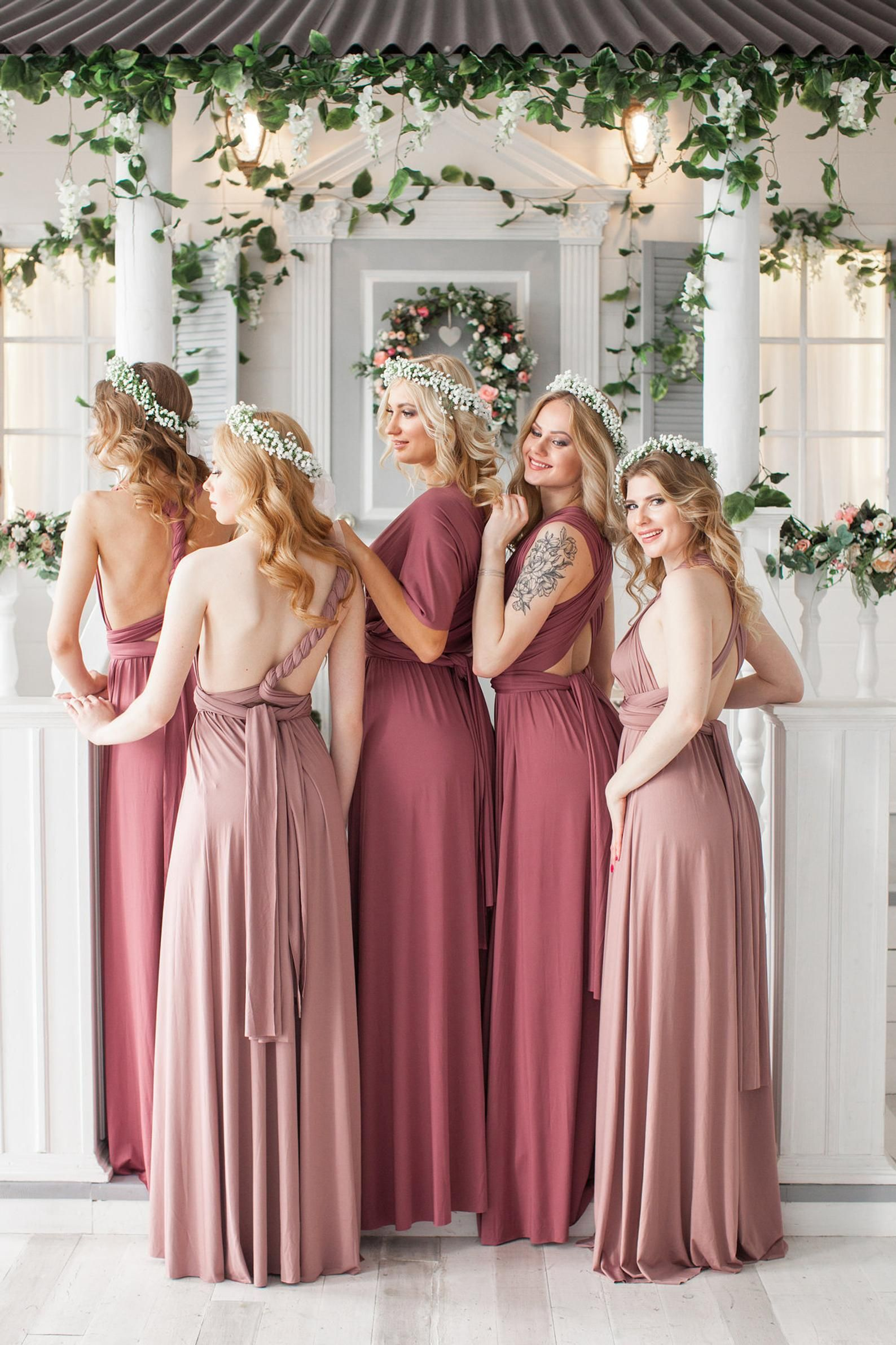 620cf58b64 Rosewood Bridesmaid Dress Infinity Dress Floor Length Maxi Wrap Convertible  Dusty Rose Dress Wed.