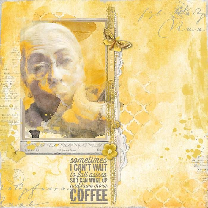 Photoshop Color Inspiration: Need More Coffee- Art Journal Style Scrapbook Layout