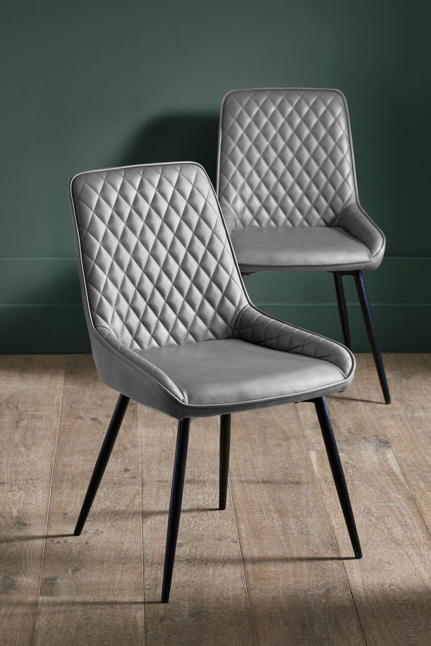 Next Set Of 2 Hamilton Dining Chairs With Black Legs Silver In