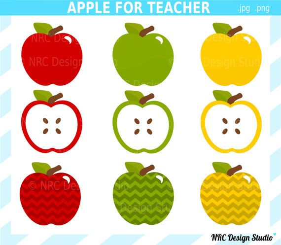 Yellow Red Green Apple's Clip Art