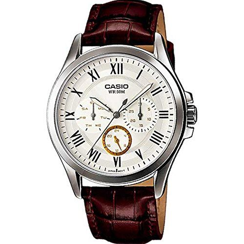 Men's Wrist Watches - Casio Mens MTPE301L7BV Brown Leather Quartz Watch with White Dial * You can find more details by visiting the image link.