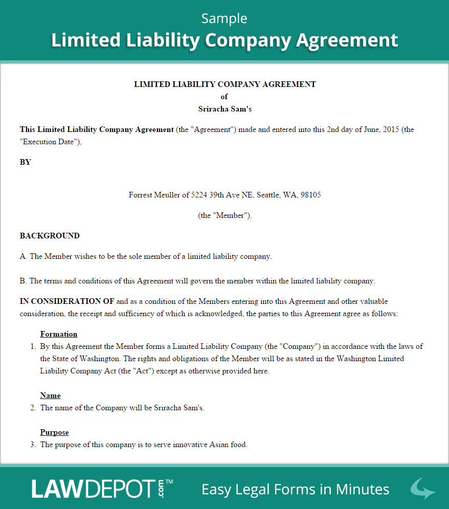 Llc Operating Agreement Free Llc Operating Agreement Template Us General Partnership Agreement Quote Limited Liability Company