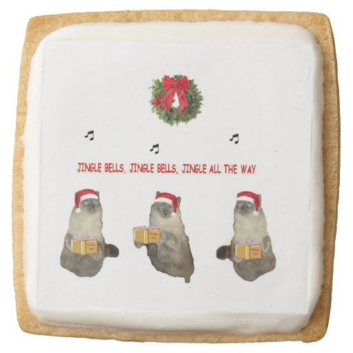Kitty Jingle Bells Square Sugar Cookie