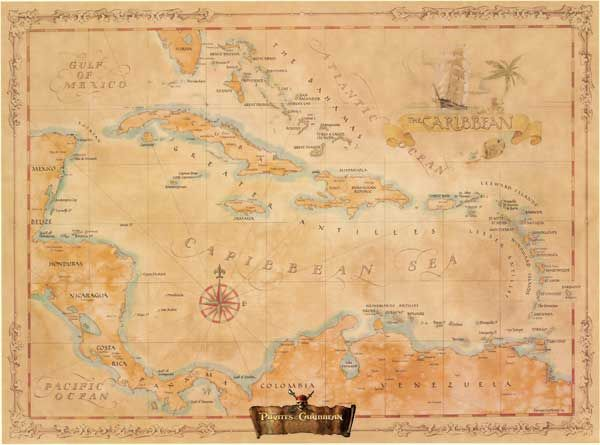 Caribbean West Indies Modern Day Antique  Pirates of the