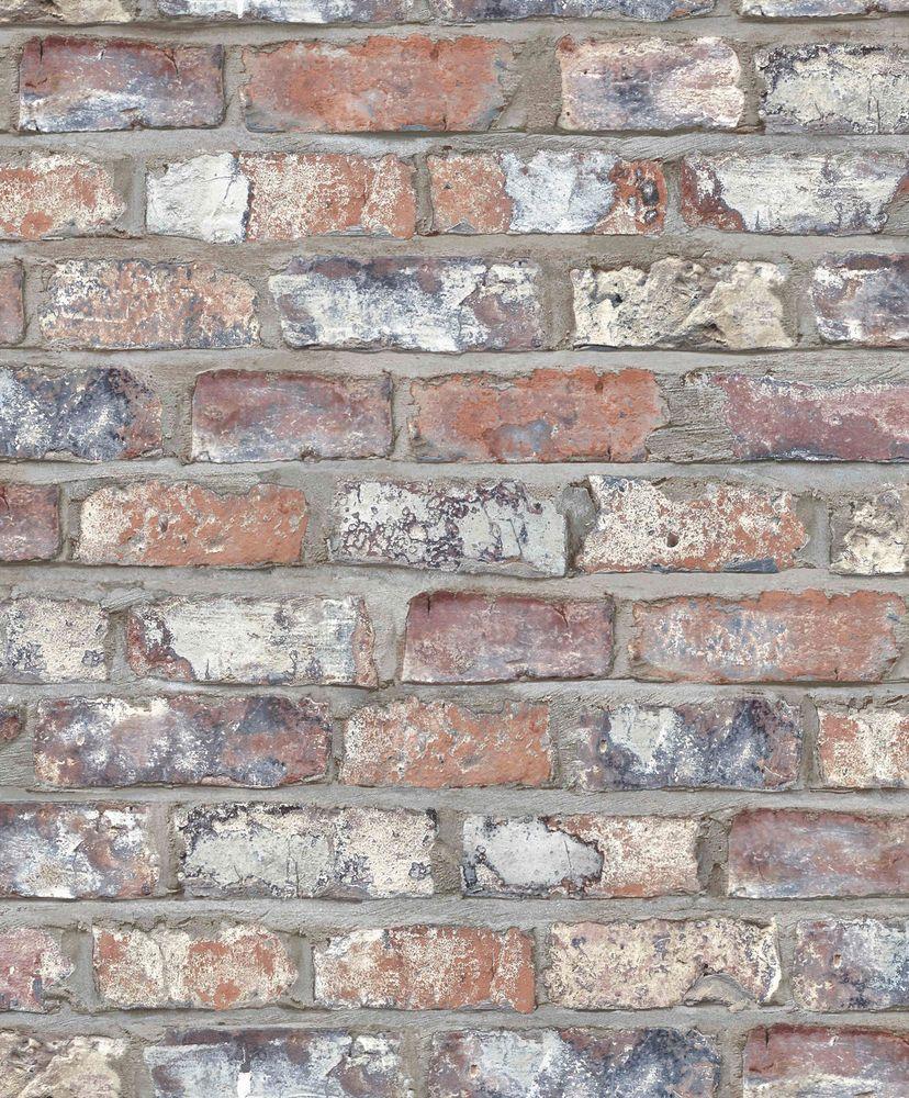 Details zu vlies tapete bruchstein stein mauer ziegelstein for Tapete backstein grau
