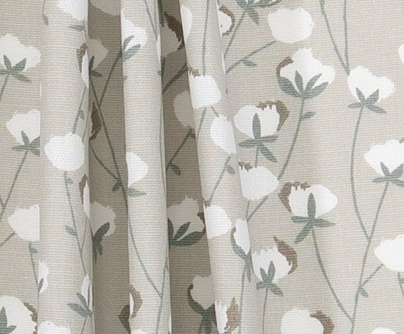 Southern Cotton Bolls Fabric Designer Home Decor Fabric Neutral Taupe Grey  Tan Drapery Or Upholstery Fabric