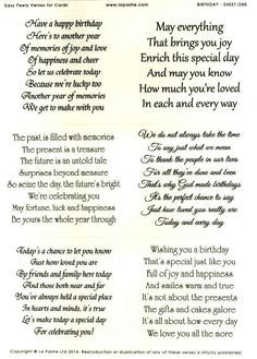 La Pashe Easy Peely Verses For Cards Birthday Cards - Free childrens birthday verses for cards