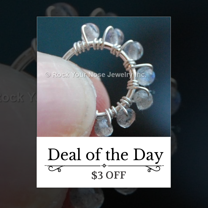 Today Only! $3 OFF this item.  Follow us on Pinterest to be the first to see our exciting Daily Deals. Today's Product: Beaded Silver Nose Ring Wrapped with Labradorite Buy now: http://www.rockyournose.com/products/beaded-silver-nose-ring-wrapped-with-labradorite?utm_source=Pinterest&utm_medium=Orangetwig_Marketing&utm_campaign=Wrap%20Me