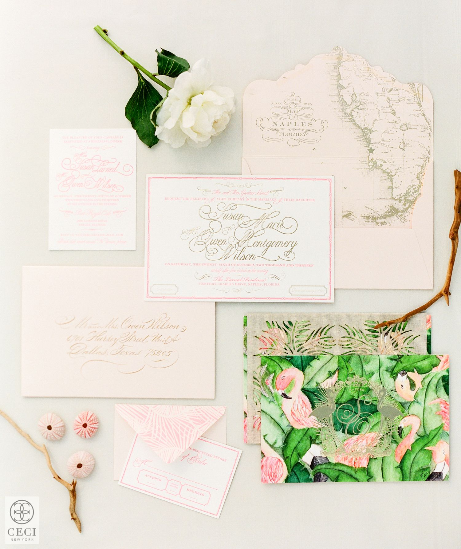 Flamingo pink inspired wedding invitation by CeCi New York | Wedding ...