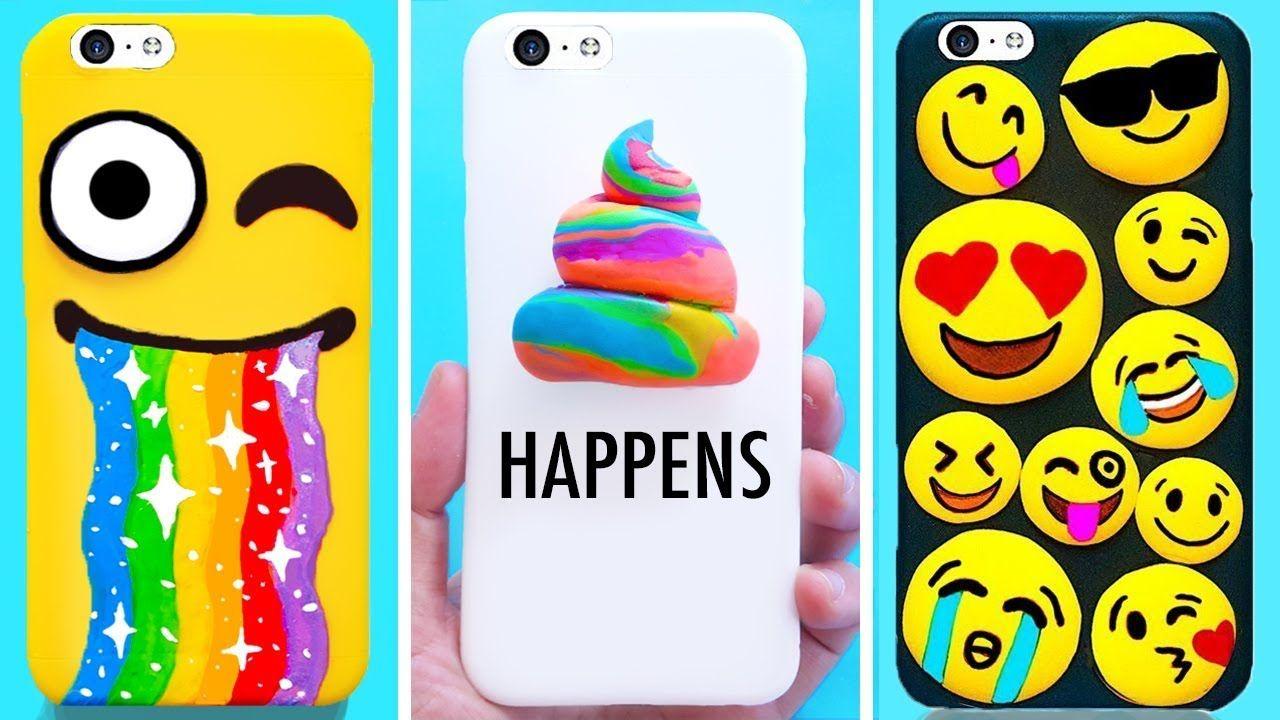 Diy Phone Cases Emoji Edition Easy Cute Phone Projects Iphone Hacks Craft Phone Cases Iphone Hacks Diy Phone