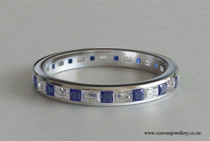 princess and baguette sapphire cut diamond ring princess cut