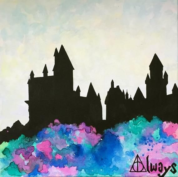 Harry Potter Always Watercolor Original Castle Silhouette Hogwarts 4c5Lq3ASRj