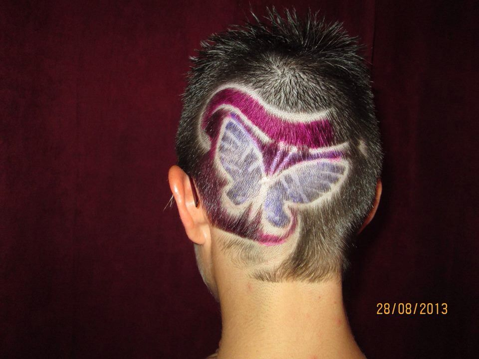 butterfly hair tattoo design