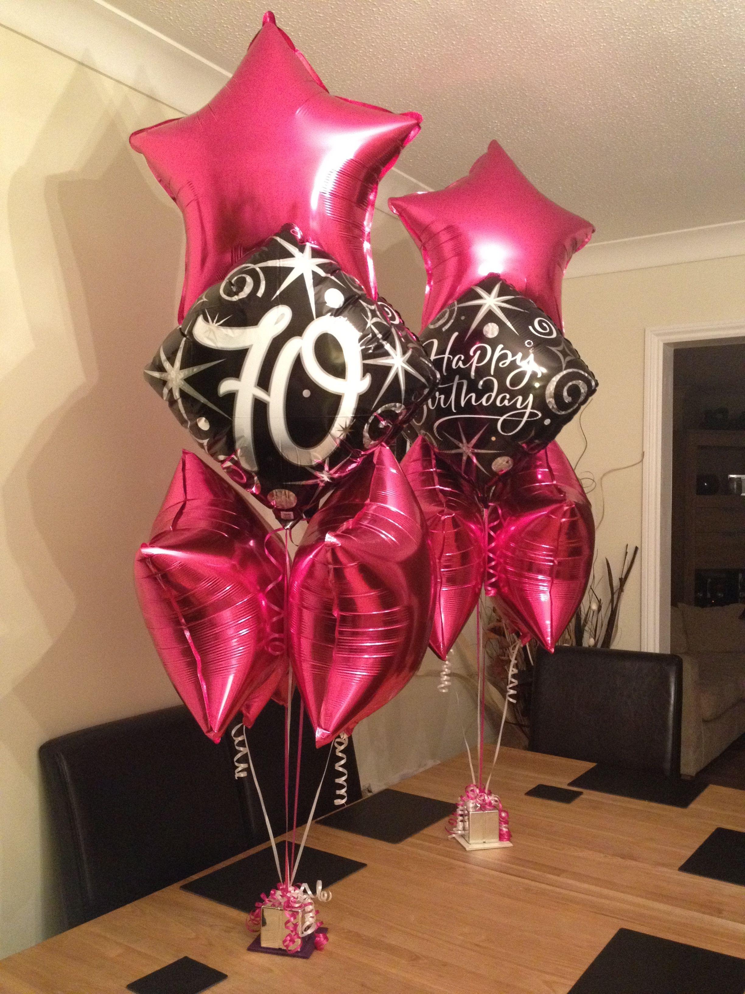 Happy birthday balloon bouquets 70th magenta stars and black silver