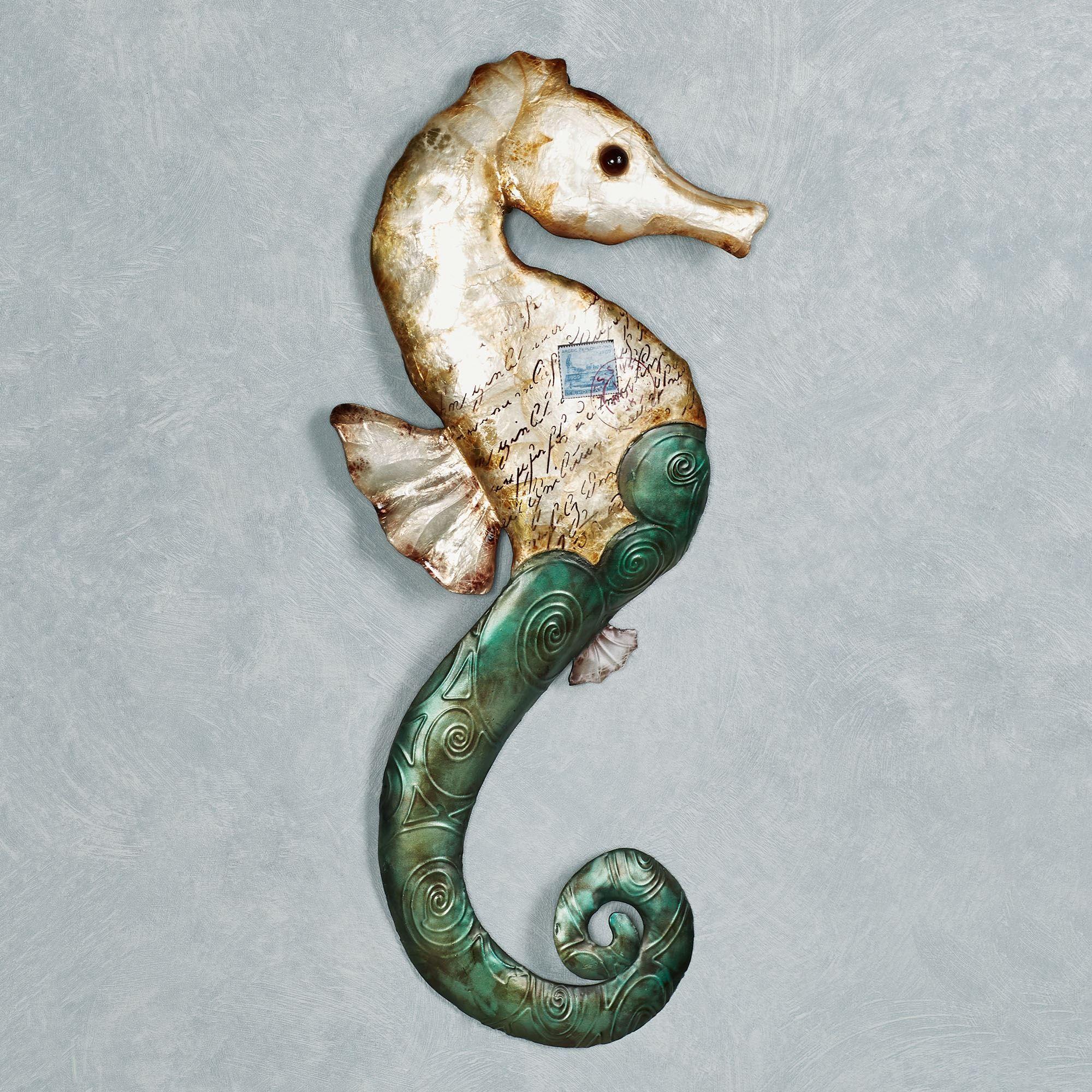 Postcard Beach Capiz Shell And Metal Seahorse Wall Art Seahorse Wall Art Wall Art Seahorse