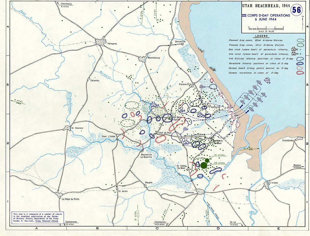 The planned drop zones of American paratroopers near Utah
