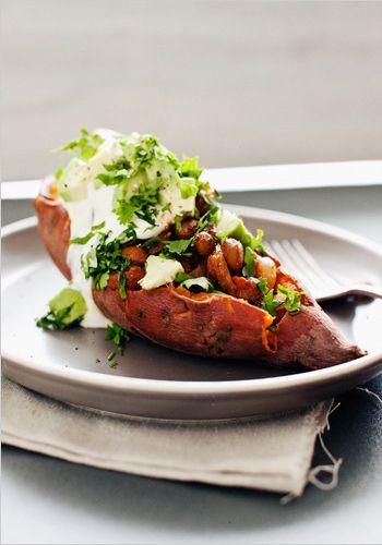 Chili Beans on Sweet Potatoes