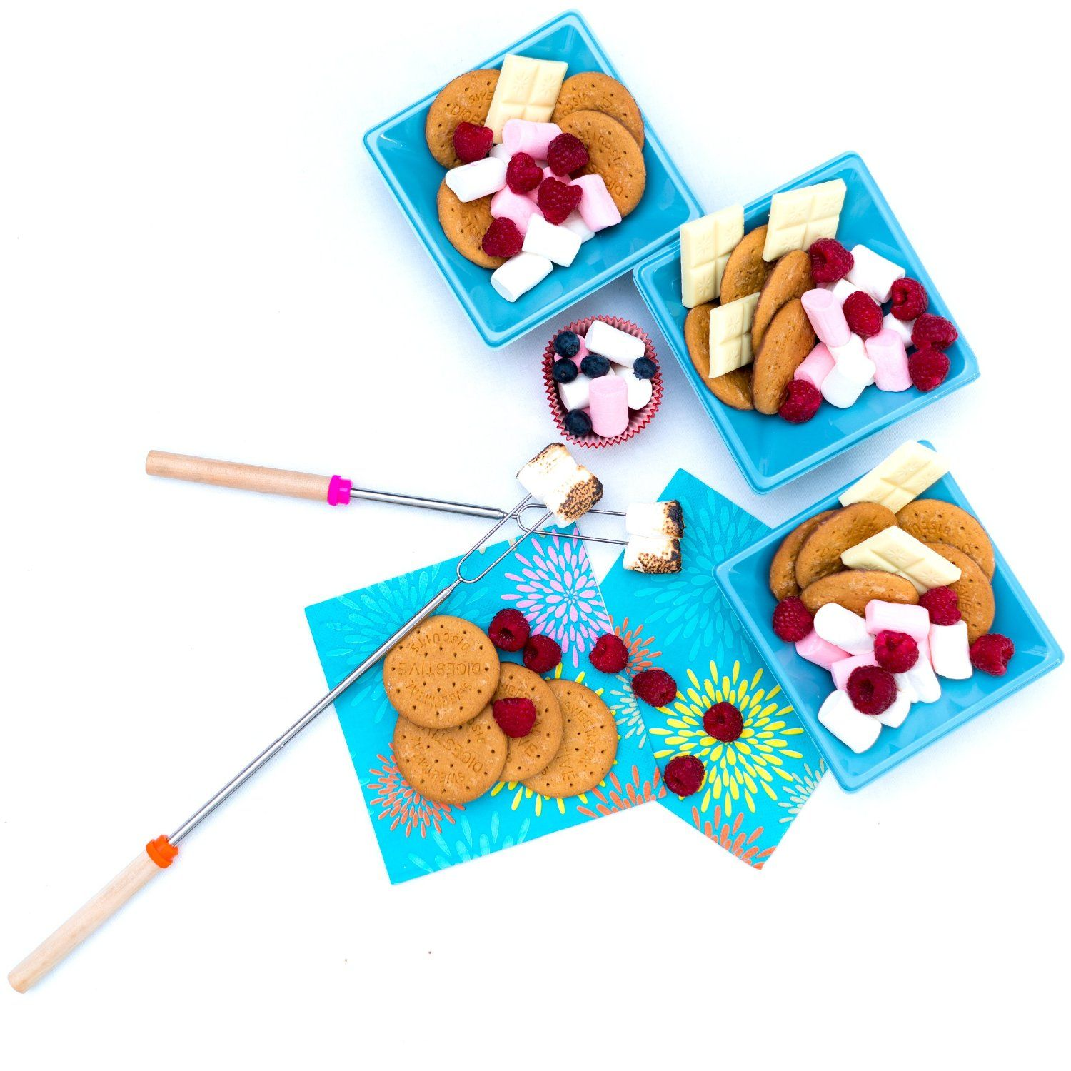 Marshmallow Roasting Sticks For BBQ Camping Bonfire Campfire Cooking Telescoping Hotdog