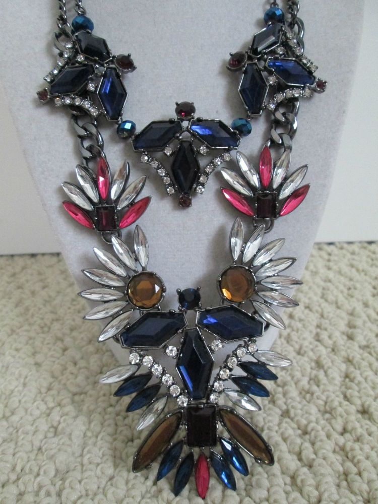 NWT Auth M. Haskell Large Multicolor Rhinestone Cluster Statement Necklace $100 #MHaskell #Statement