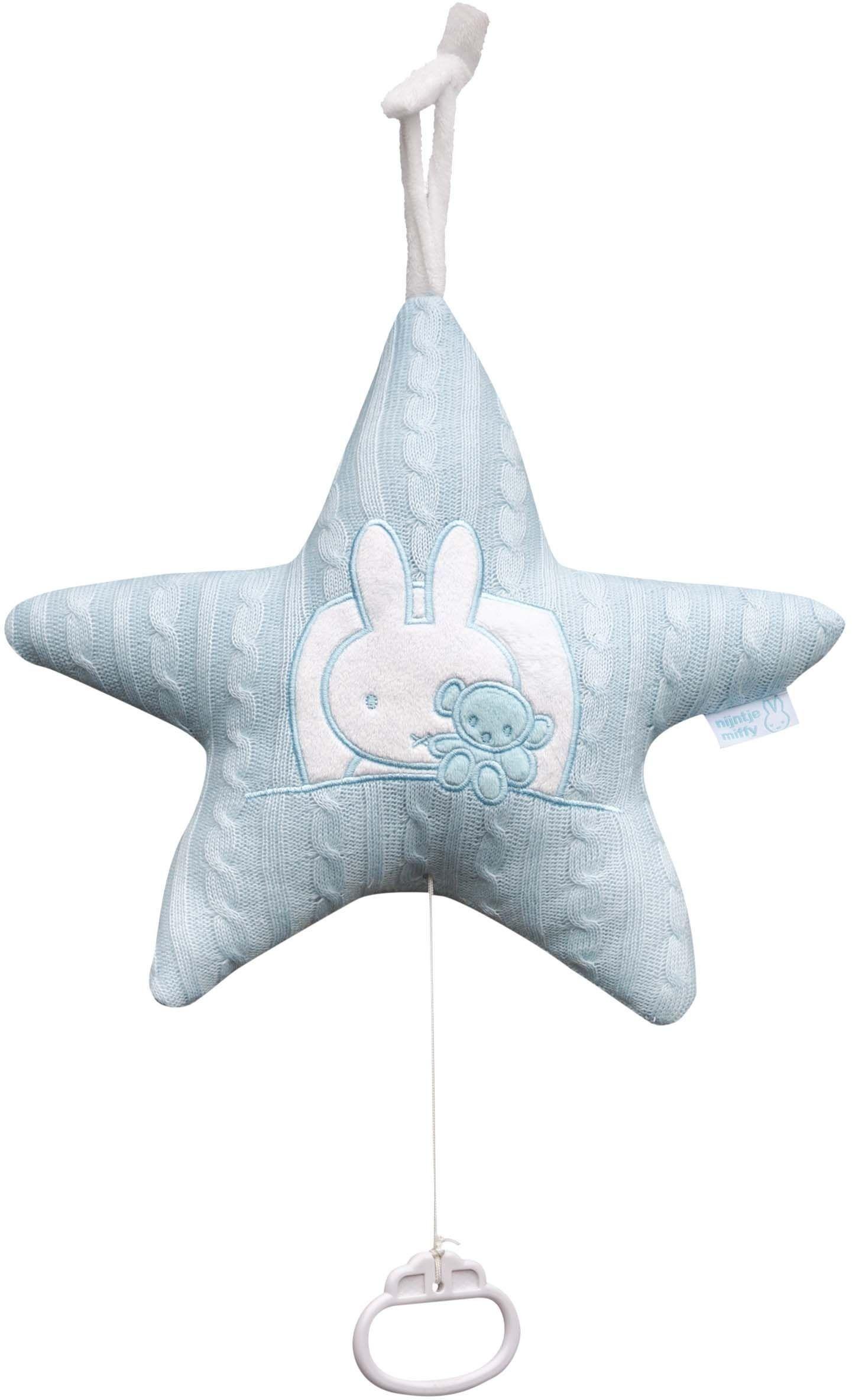 9fb498fe6ece72 Muziekdoosje in de vorm van een ster van nijntje. Deze gebreide ster is  blauw en