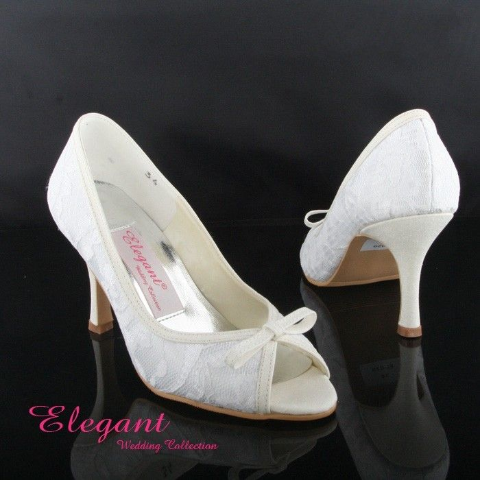 Mid Heel Peep Toes Lace Elegant White Dyeable Wedding Shoes