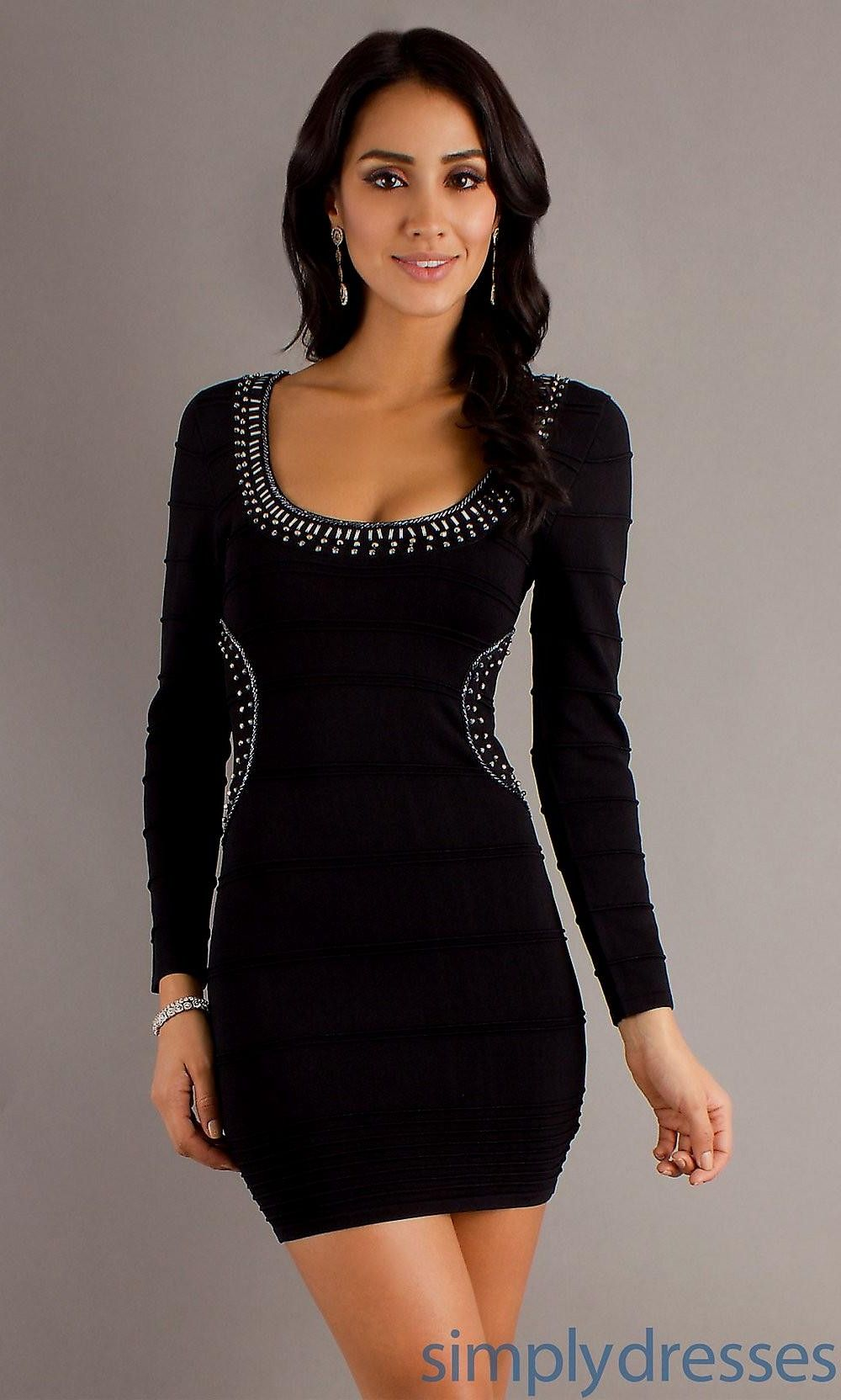 short tight black dress with long sleeves Naf Dresses | Long ...