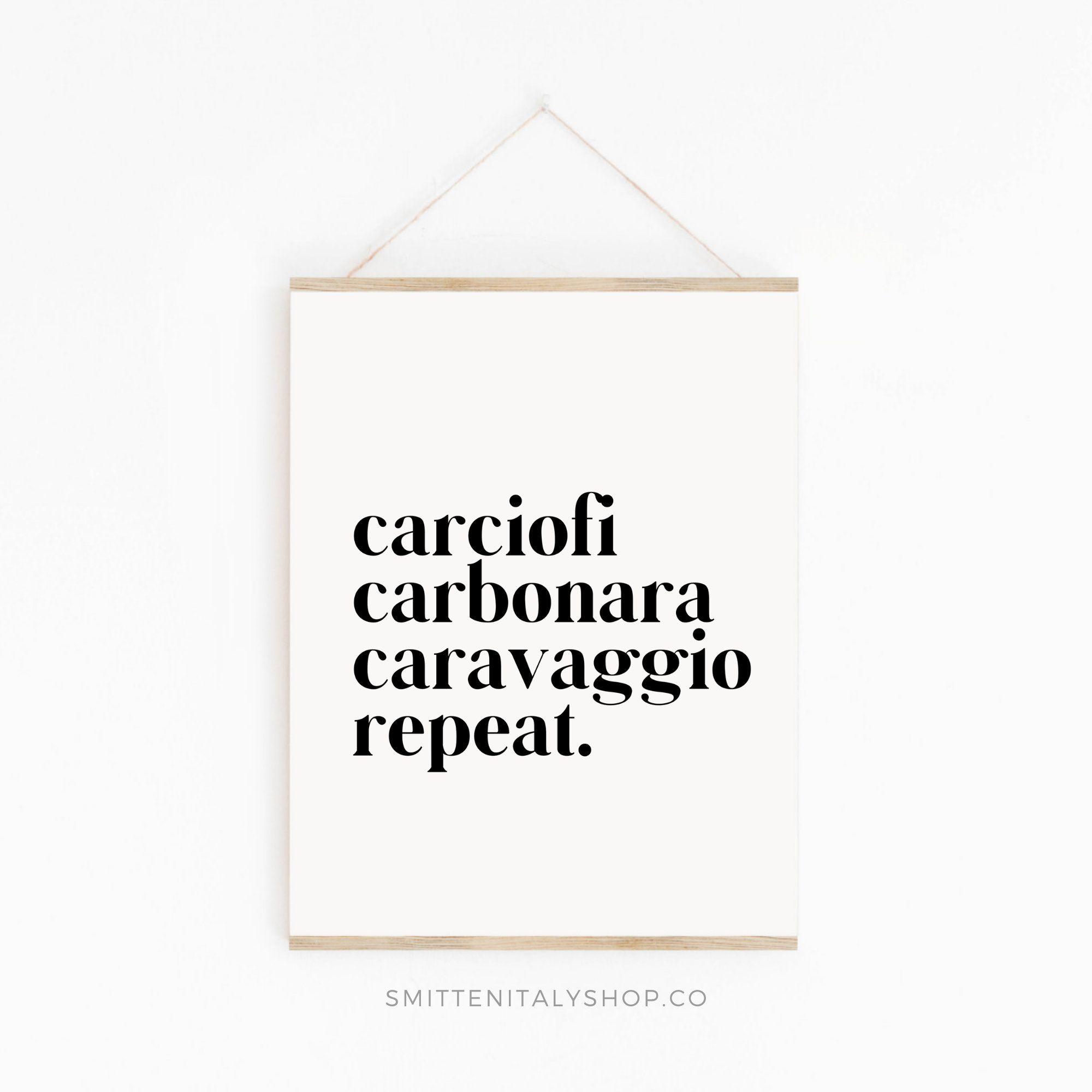 Rome Lovers Art Print (Italy Art Prints - Wall Art for Italy Lovers - Carciofi, Carbonara, Caravaggio Art print)