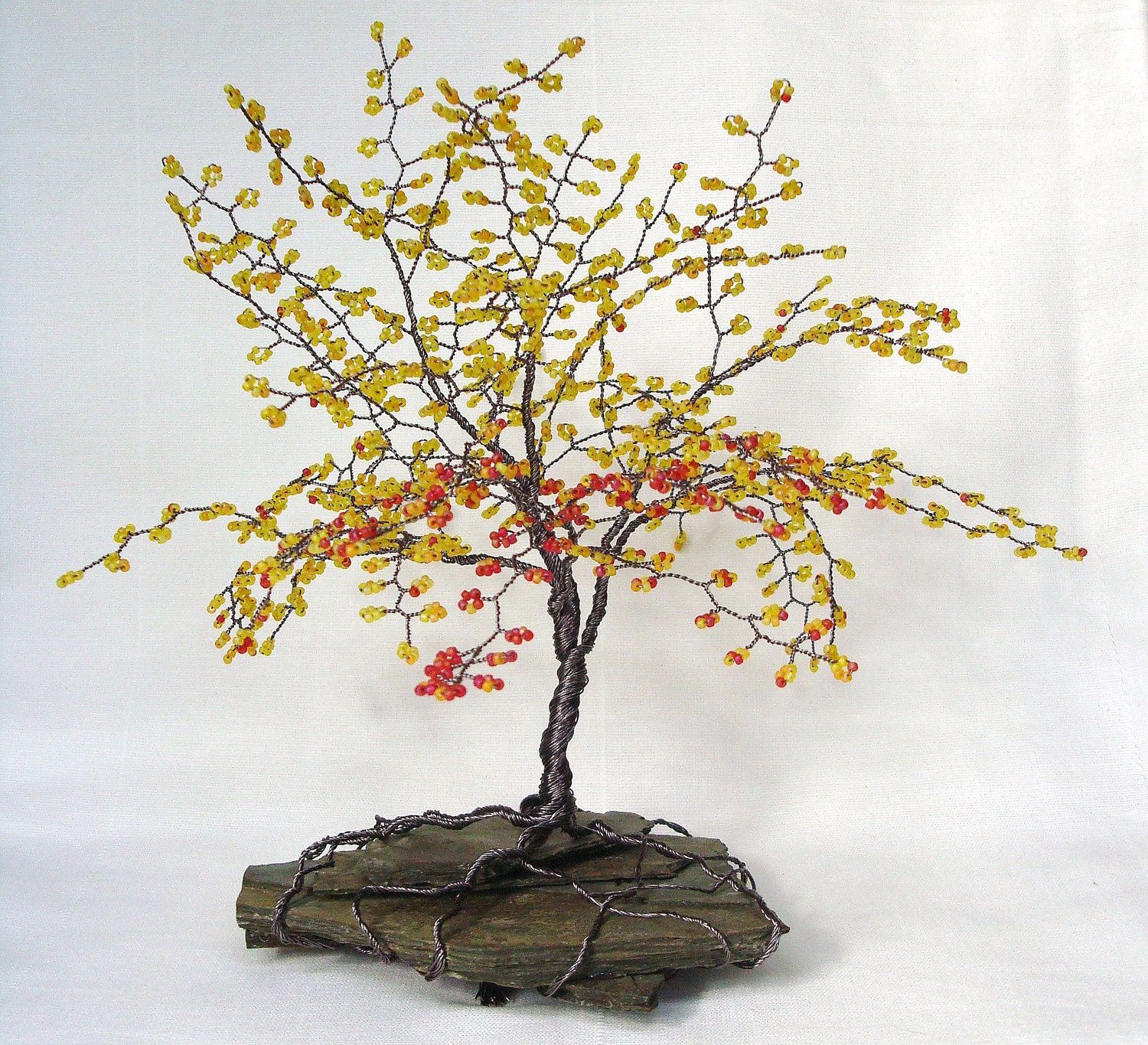 Fall Colors Beaded Bonsai Wire Tree Sculpture with Sead Beads ...