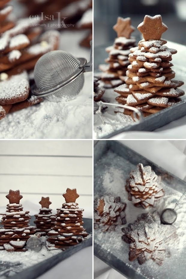 star shaped cookies into christmas trees!!!