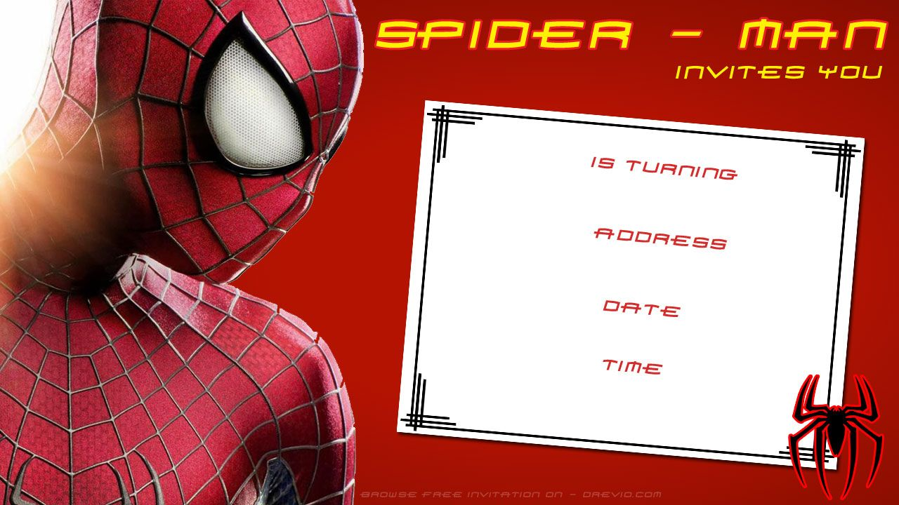 Awesome Free Printable Blank Spiderman Birthday Invitation