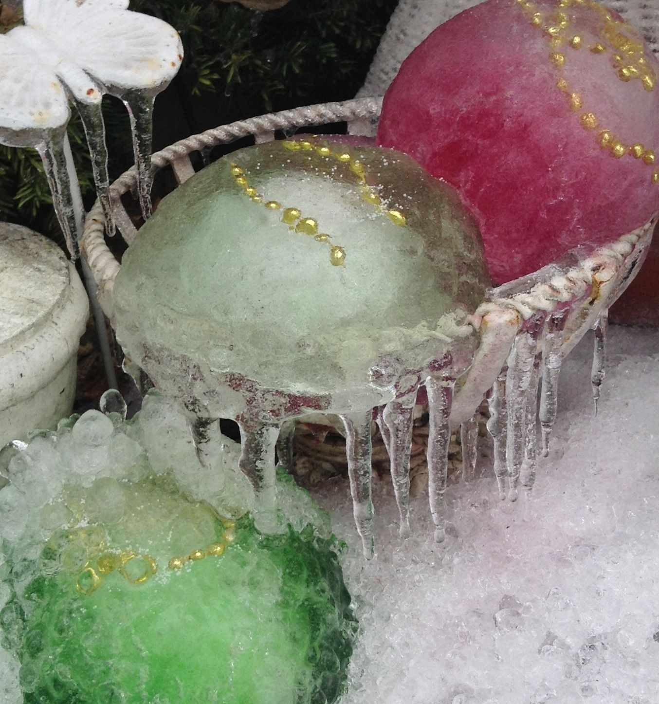 after the ice storm frozen water balloons food colouring beads