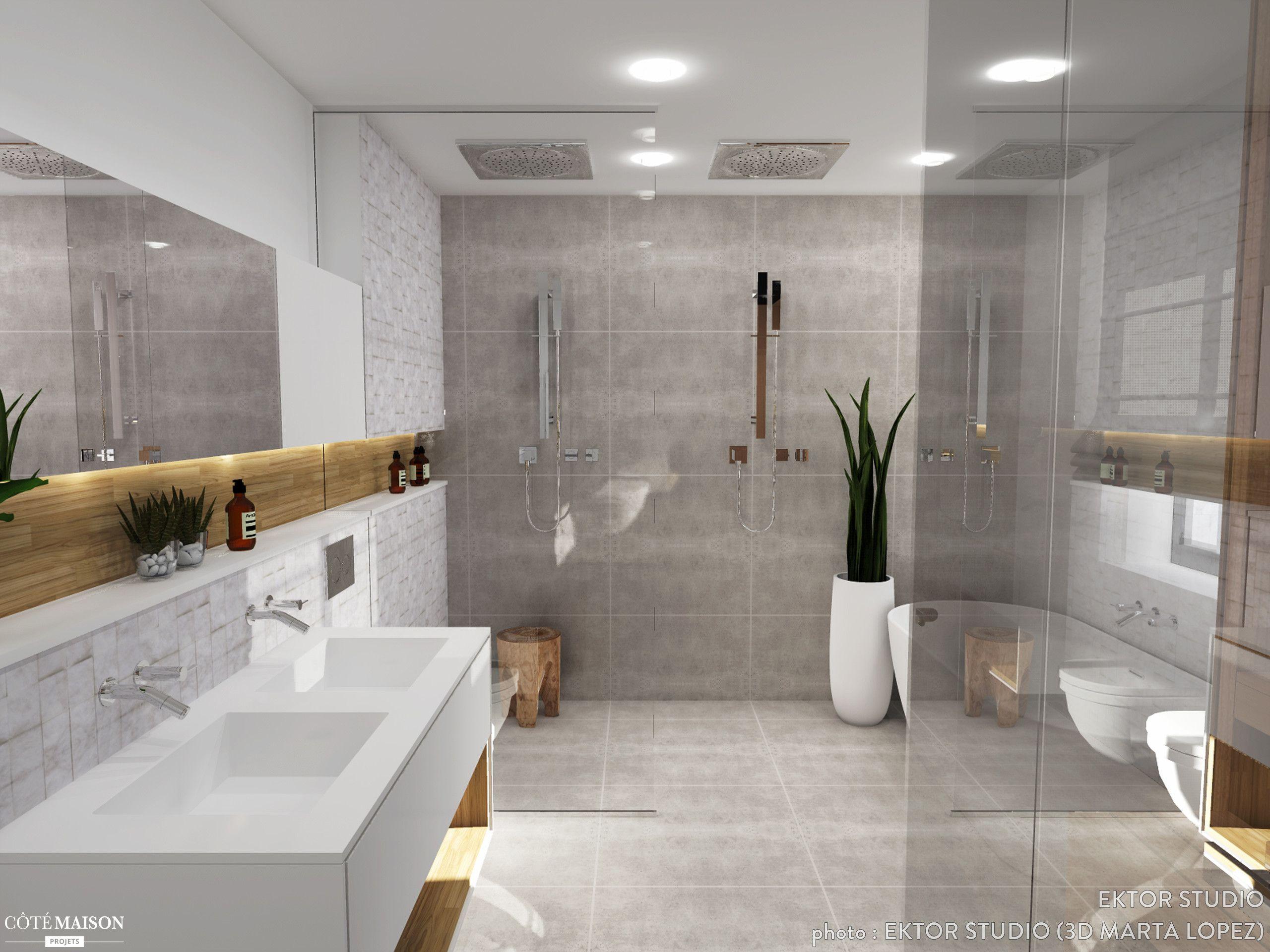 Maquette Dune Salle De Bains Pour Une Suite Parentale Plans - Cote maison salle de bain