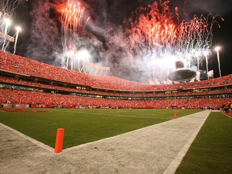 Arrowhead Stadium Night Game Kansas City Chiefs Cheerleaders Kansas City Chiefs Arrowhead Stadium