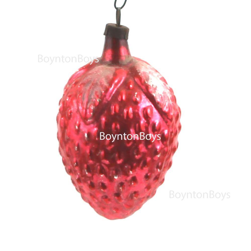 Strawberry christmas ornaments - Vintage West German Figural Strawberry Blown Glass Christmas Ornament Boyntonboys Brothers