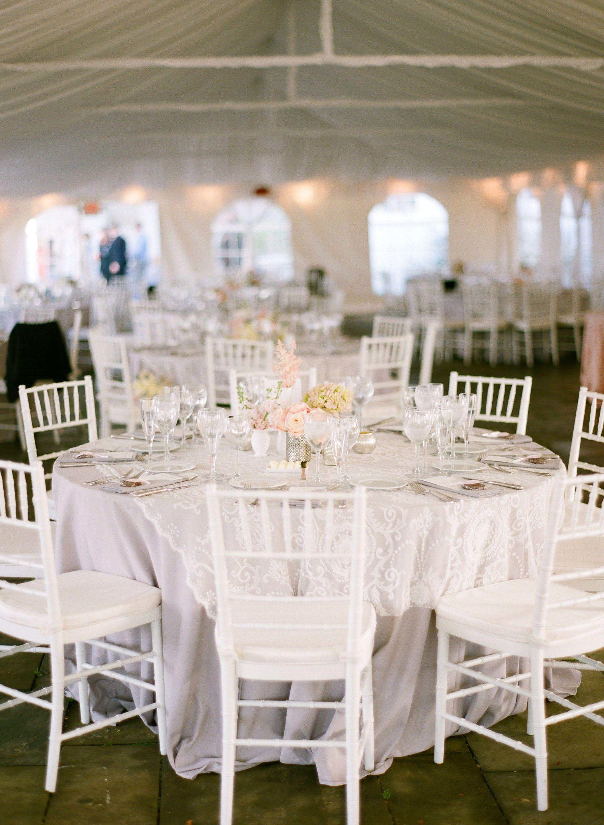 Tent Wedding White Chivari Chairs Grey Twill Table Cloth Lace Overlay Etsy Milk Gl Mercury Centerpieces