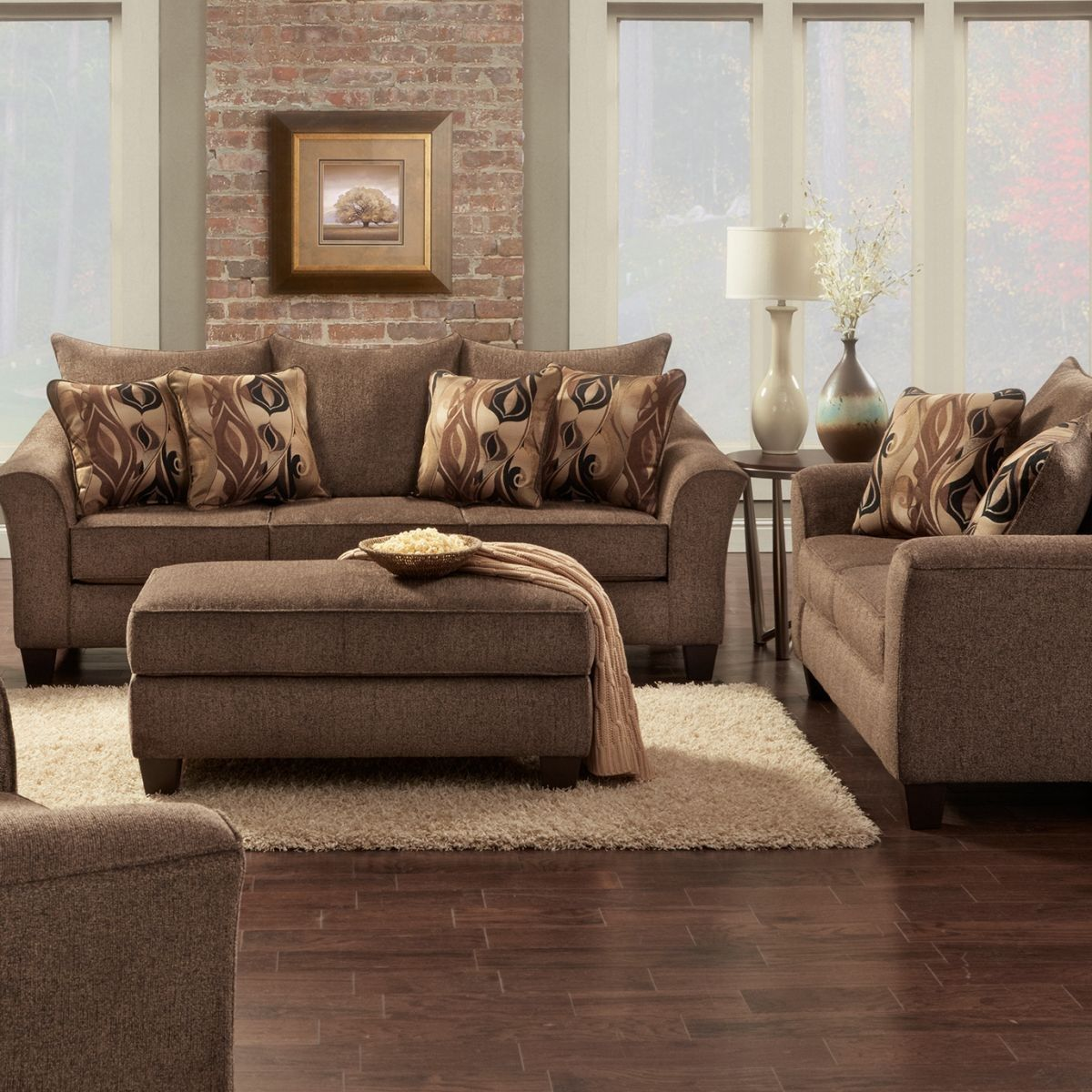 Badcock & More | Camero Brown Sofa & Loveseat | Brown living room