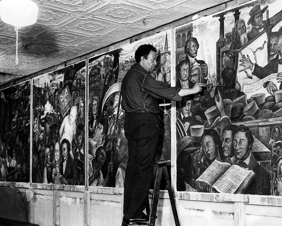 Diego rivera painting a mural at the new workers school