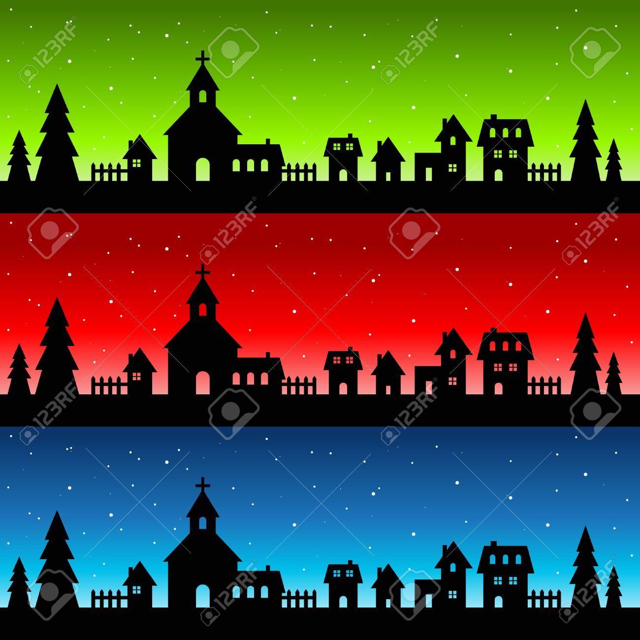 11814232 Silhouette Christmas Village Stock Vector Jpg 1300 1300 Silhouette Christmas Silhouette Images Christmas Village
