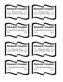 This Template Can Be Easily Adapted To Any Reward For Students Print On Color Paper Create Coupons Use In The Clroom