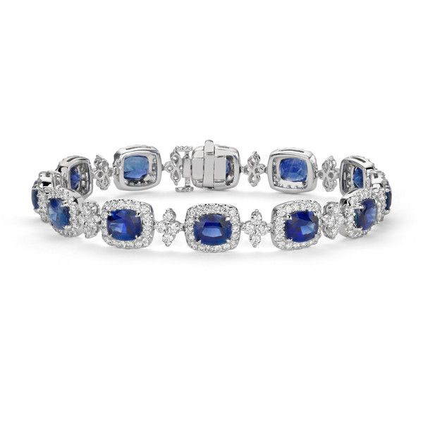 Blue Nile Cushion Blue Sapphire and Halo Diamond Bracelet (244.185 NOK) ❤ liked on Polyvore featuring jewelry, bracelets, rannekorut, sapphire, diamond jewelry, 18k bangle, diamond jewellery, diamond bangles and 18 karat gold jewelry