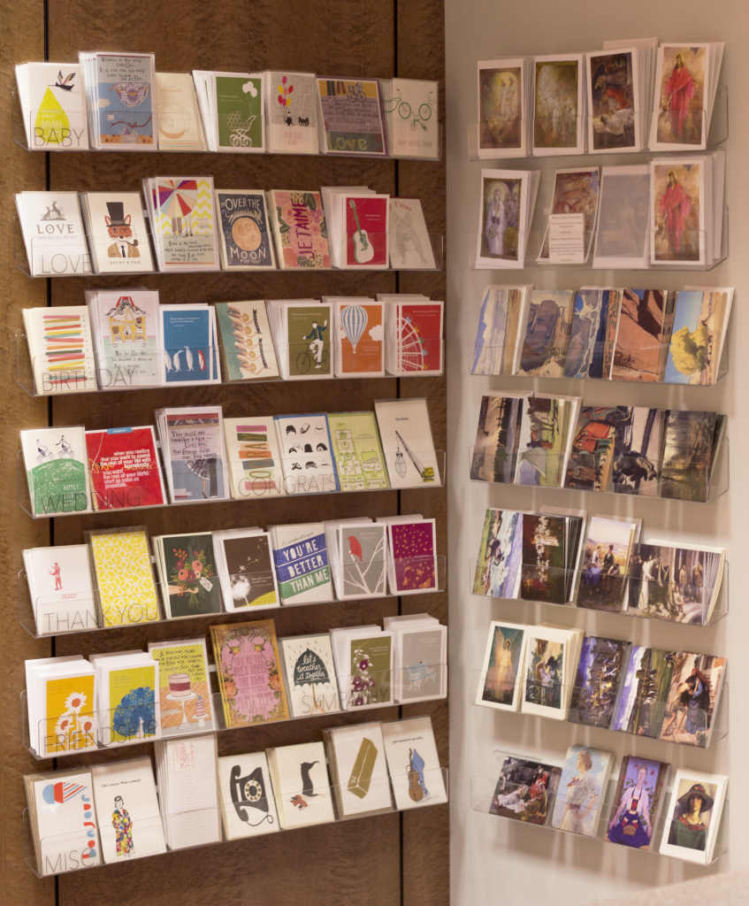notecard display shelves -store thank you cards -current collateral -stickers