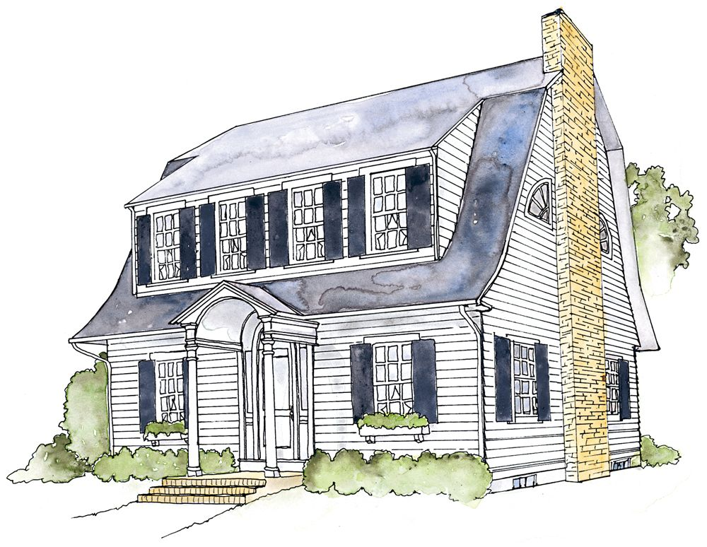 Dutch colonial revival style house home design and style for Dutch revival house plans