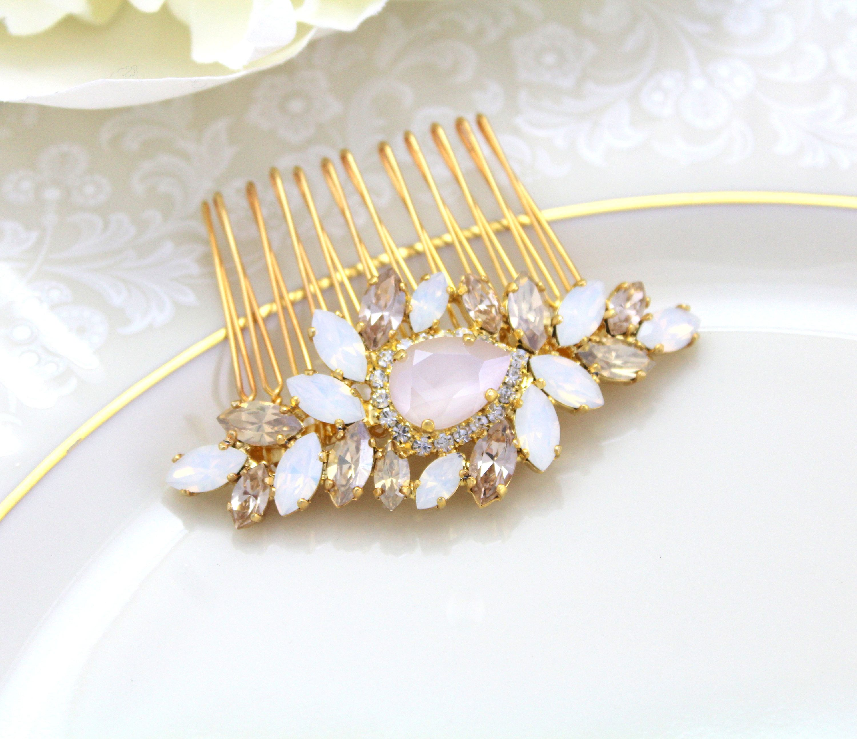da9d69bec Gold hair comb, Bridal hair comb, Wedding hair accessories, White opal hair  comb, Hair jewelry, Swarovski crystal, Ivory cream Golden shadow by ...