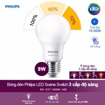Bong đen Philips Led Scene Switch 3 Cấp độ Chiếu Sang 9w 6500k E27 Anh Sang Trắng