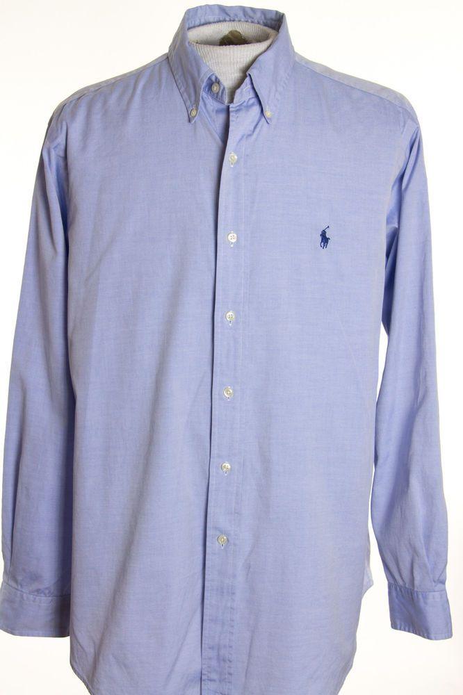 d8c7e2228 Polo Ralph Lauren Classic Fit Mens 16.5 x 34/35 Blue Button Front Dress  Shirt #PoloRalphLauren