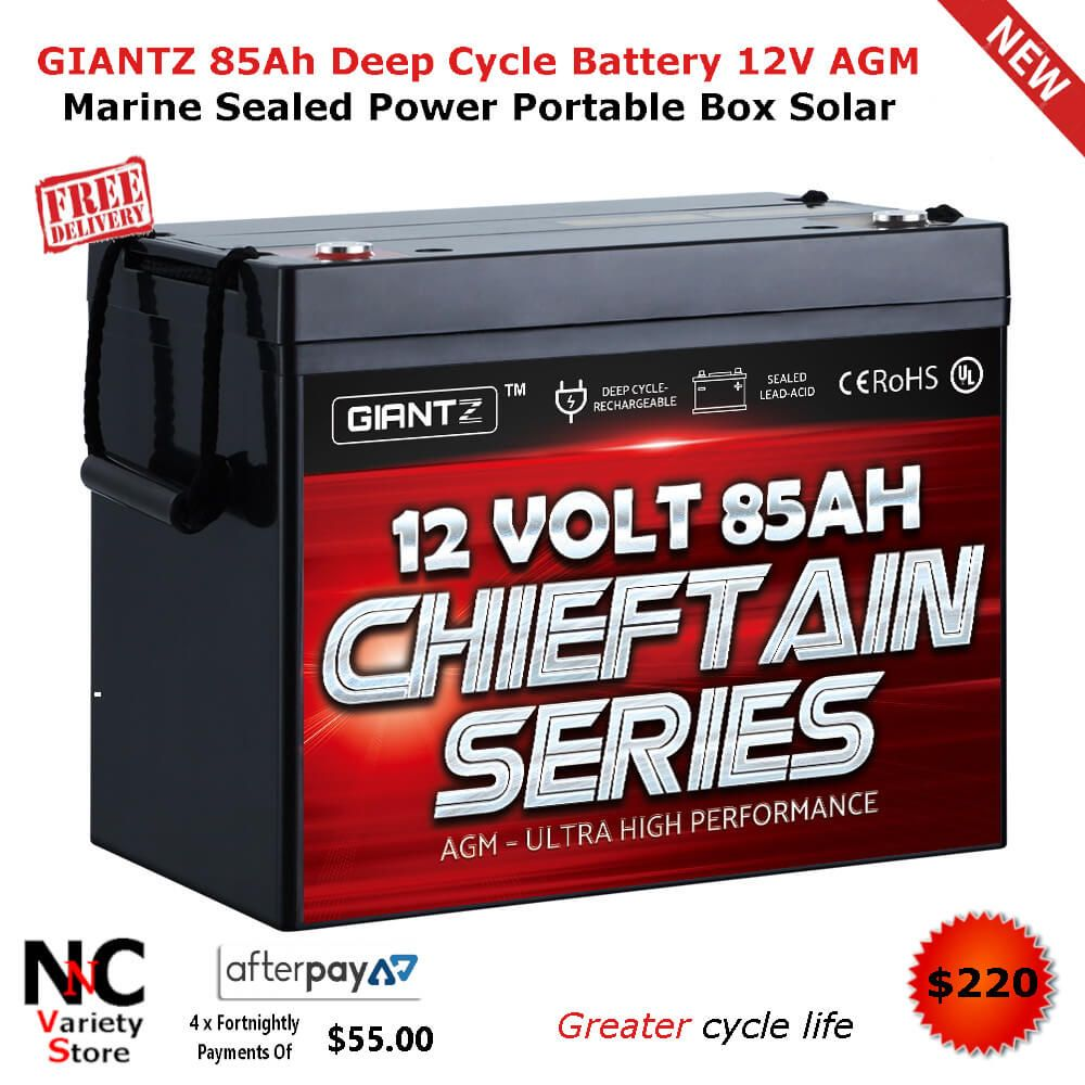 Giantz 85ah Deep Cycle Battery 12v Agm Marine Sealed Power Portable Box Solar Deep Cycle Battery Storage Life Cycle