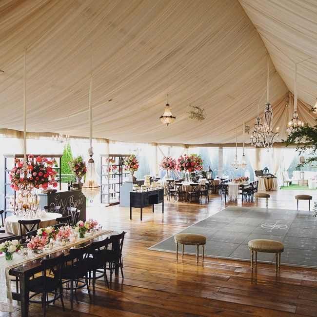 Outdoor Wedding Spots Near Me: Tented Reception Space With Chalkboard Dance Floor // Ivy