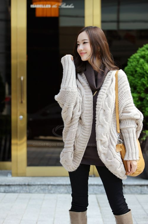 Fashion Cable Knit Long Sleeves Open Front Women's Winter Cardigan ...