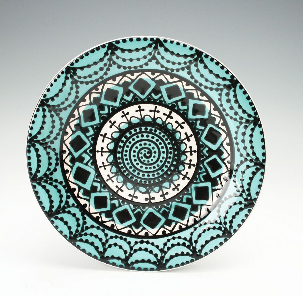 Bohemian dishes | Bohemian Mandala Plate / Teal Blue Black and White Dinnerware  sc 1 st  Pinterest : white and black dinnerware - pezcame.com